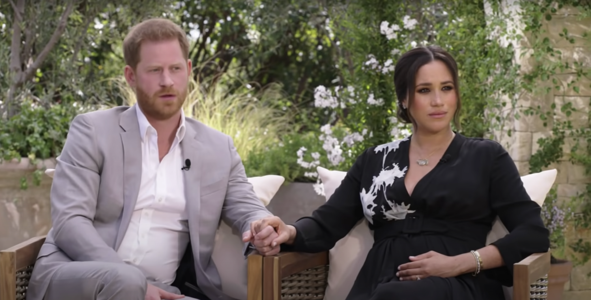 Meghan Markle and Prince Harry being interviewed by Oprah Winfrey ahead of Oprah with Meghan And Harry: A Primetime Special interview