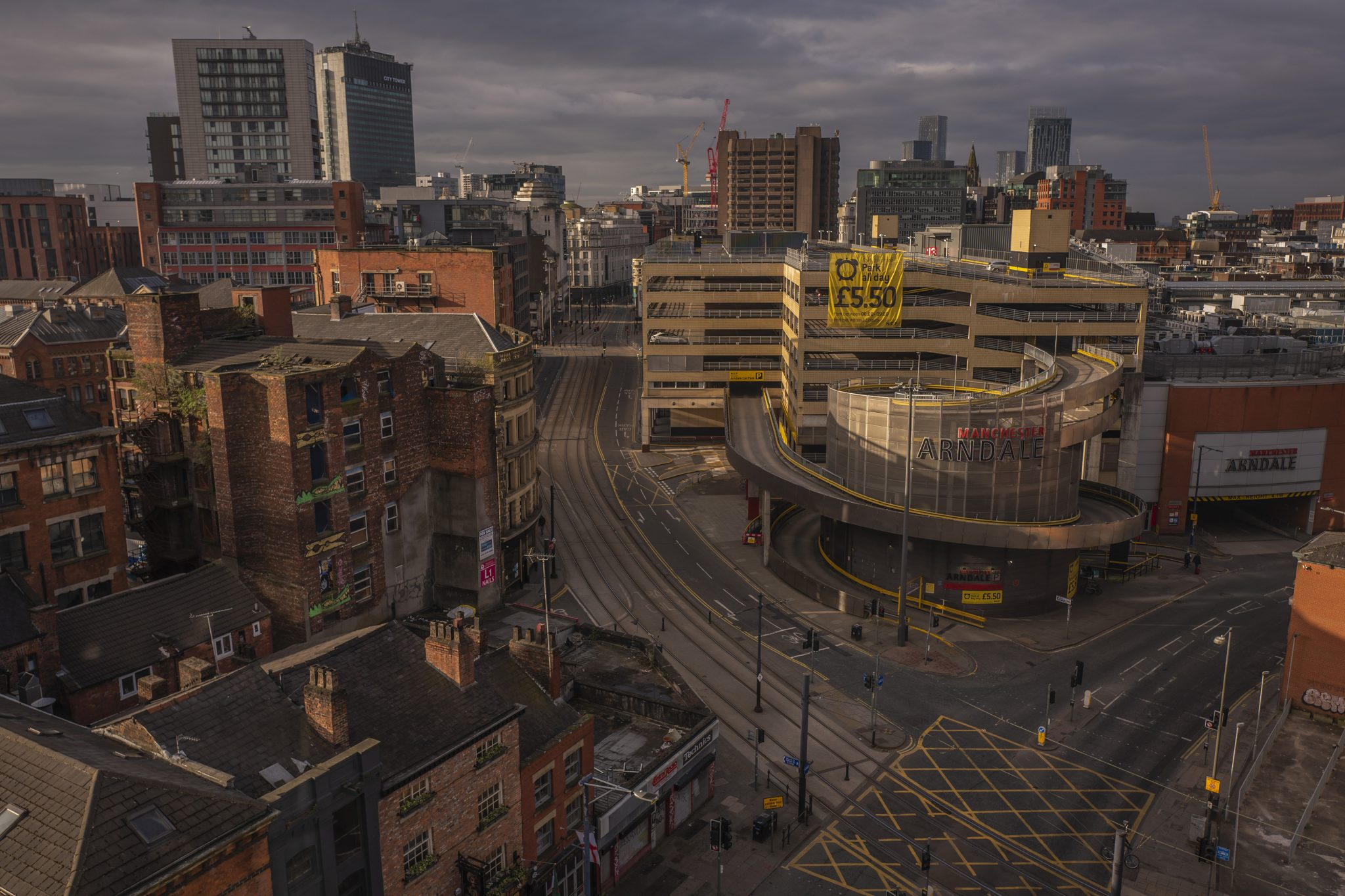 Manchester City Centre at sunset