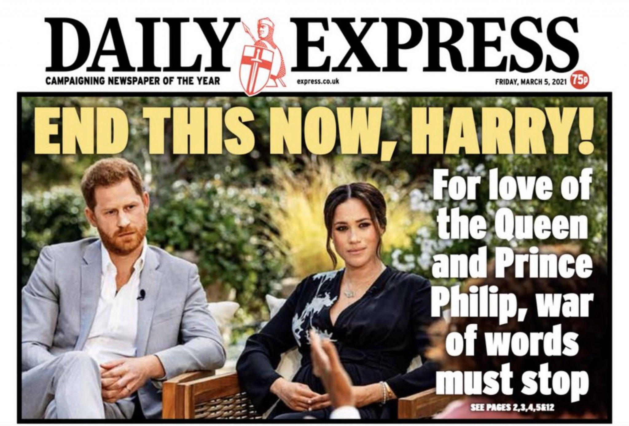 """Daily Express front page reading: """"End this now, Harry! For the love of the Queen and Prince Philip, the war of words must stop"""""""