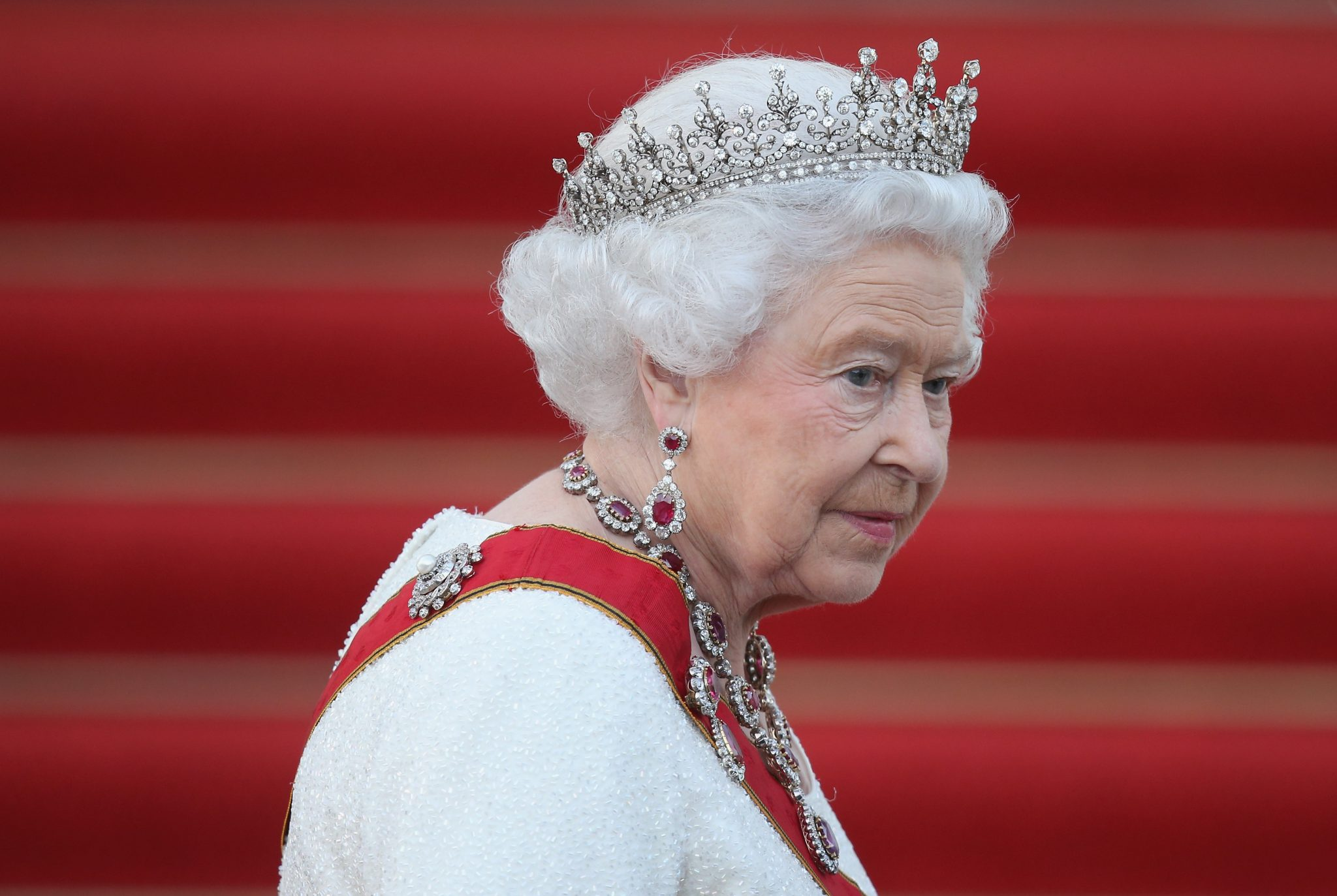 Queen Elizabeth II with a crown on