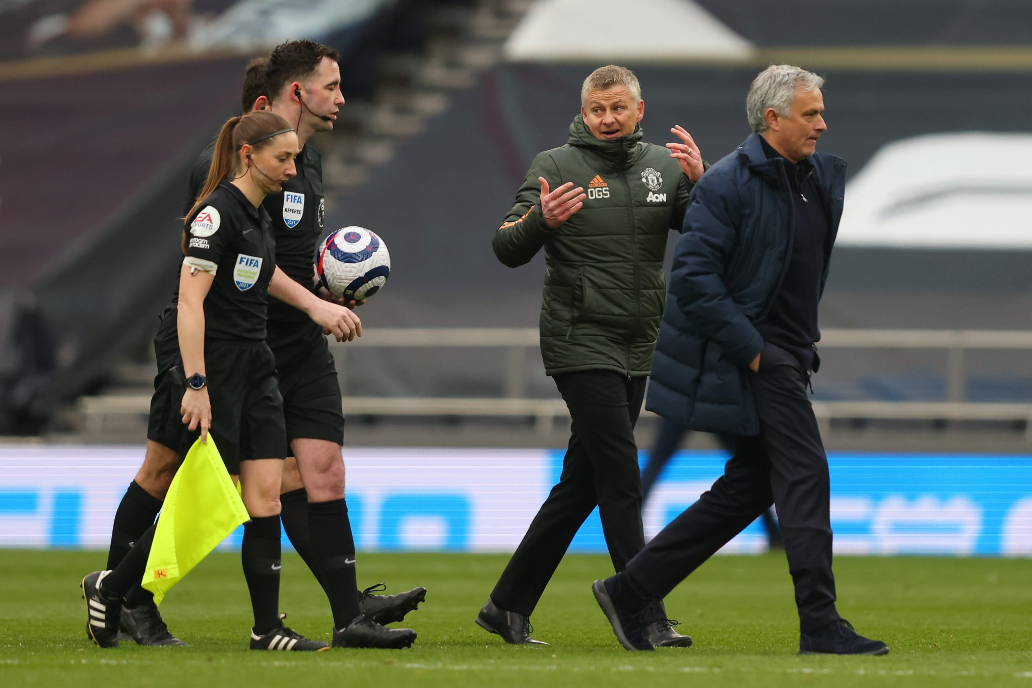 Sian Massey-Ellis refereeing the Spurs United match