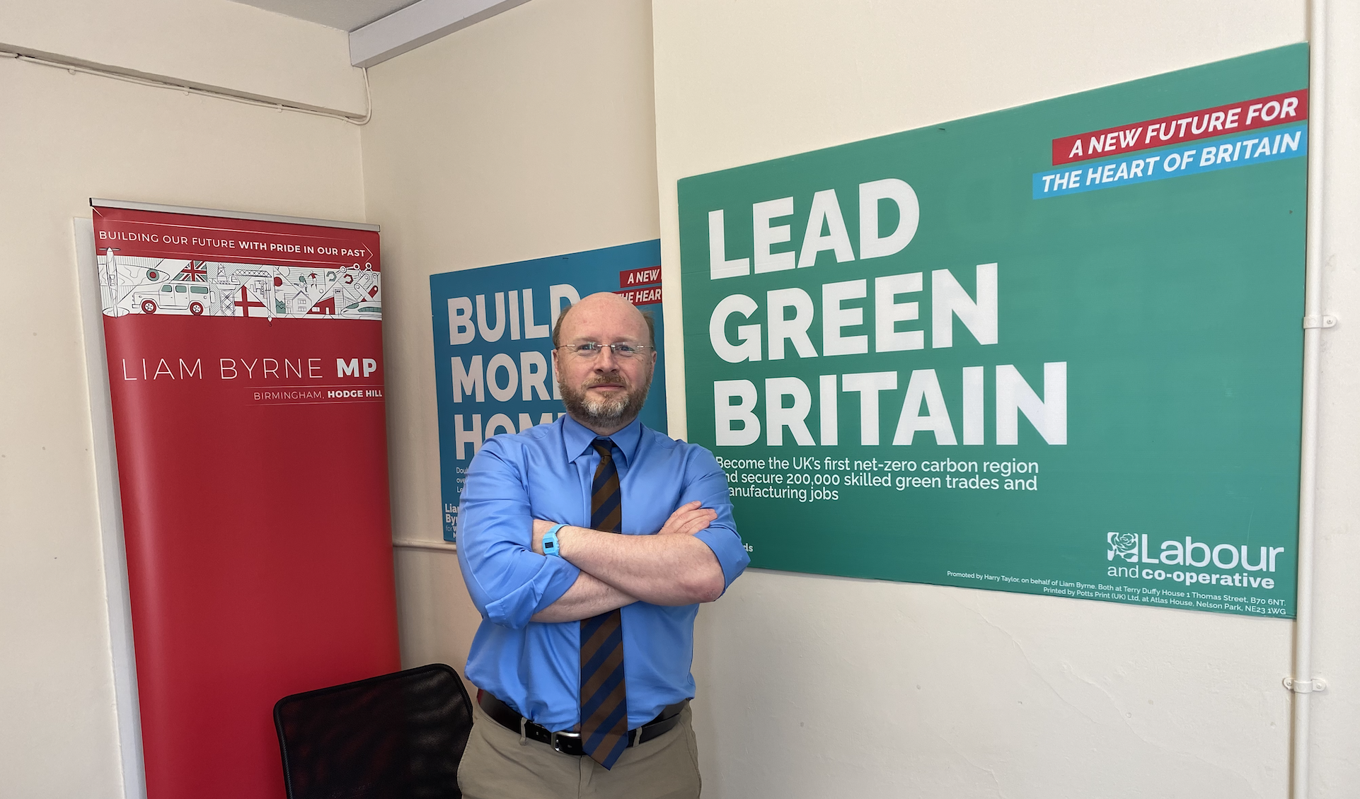 Liam Byrne at his campaign office