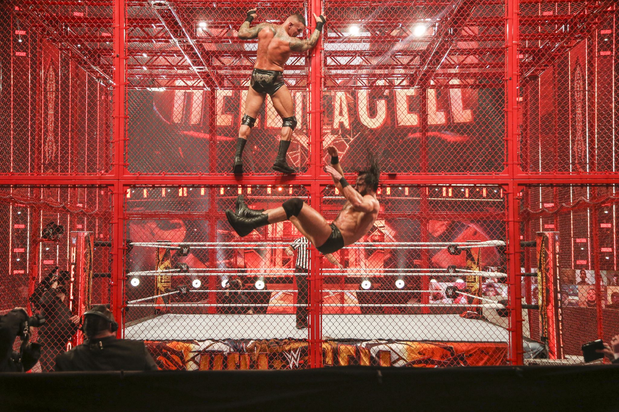 Drew McIntyre falls from Hells in a Cell in WWE match against Randy Orton