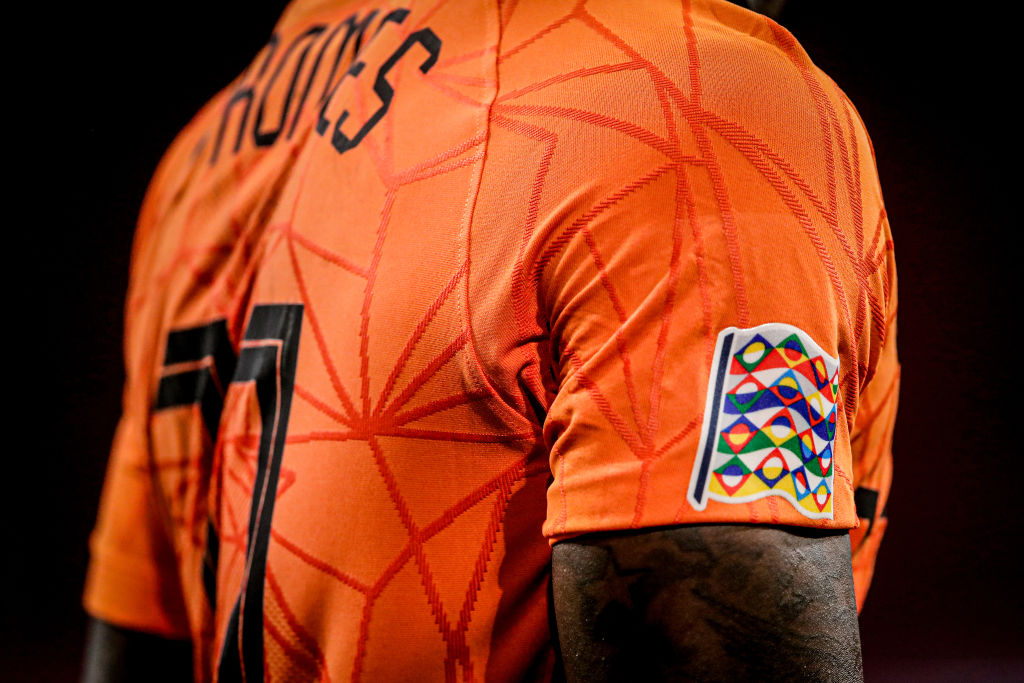 UEFA Nations League badge on Quincy Promes' shirt