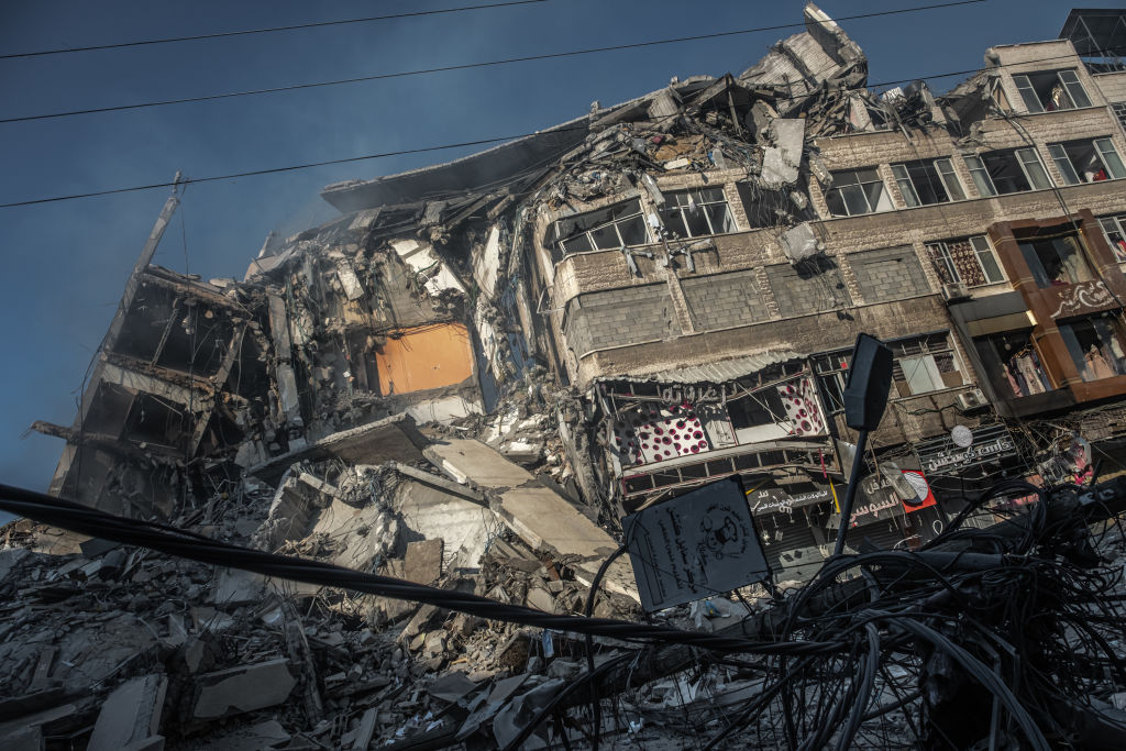 Gaza buildings turned to rubble after Israeli bombs