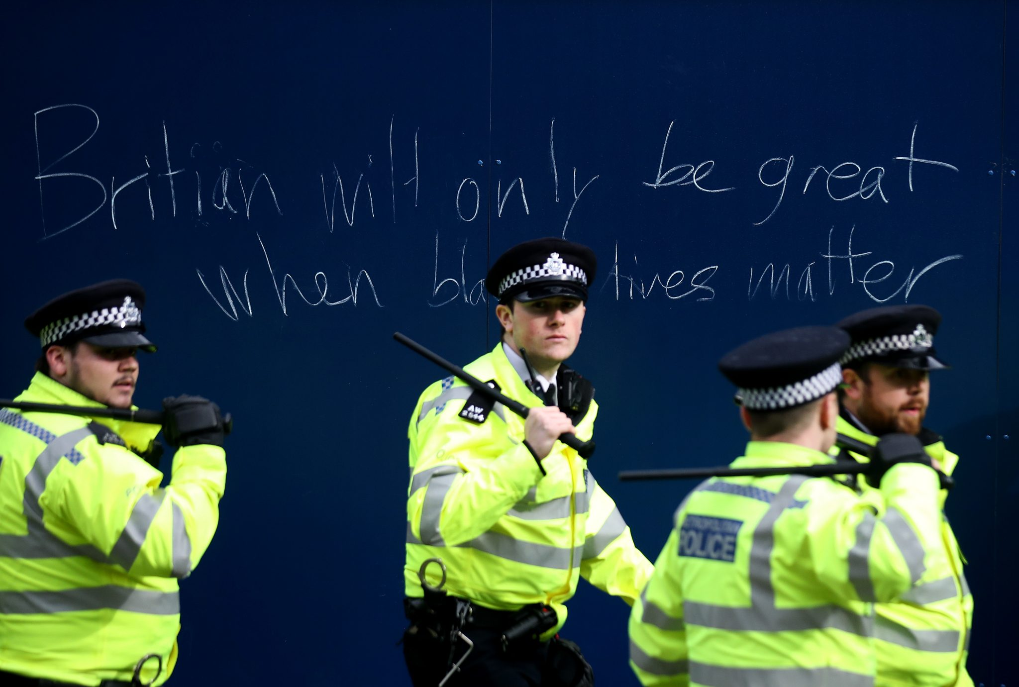 Police officers in London during a Black Lives Matter demonstration in 2020