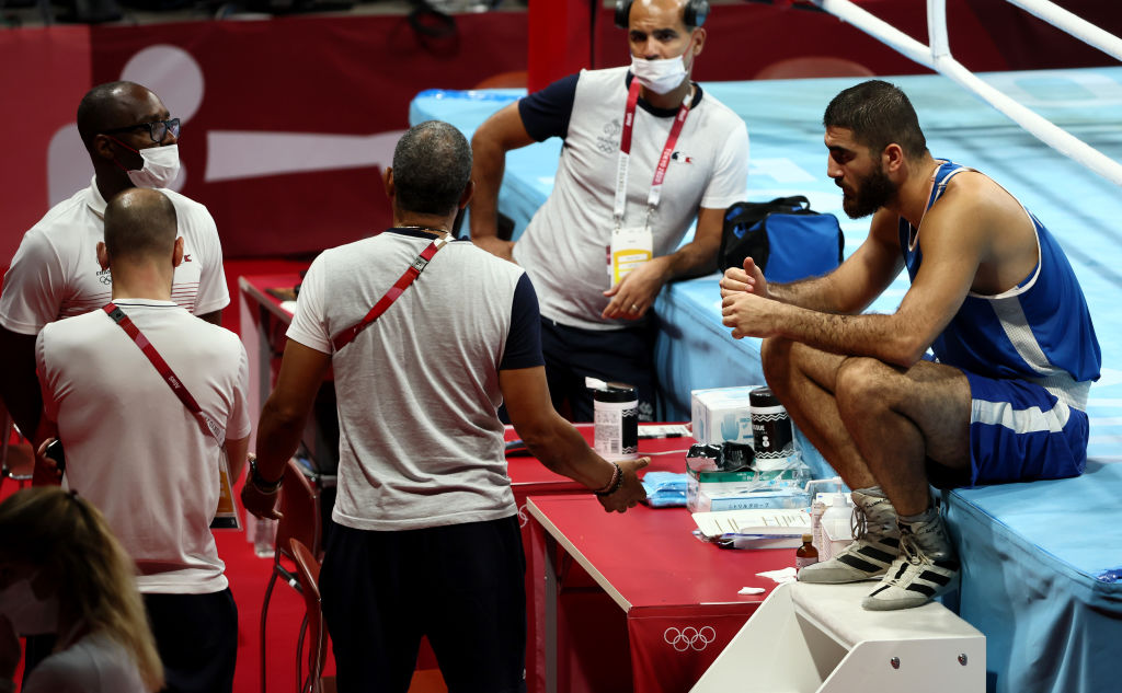 Mourad Aliev protests his disqualification from Tokyo 2020