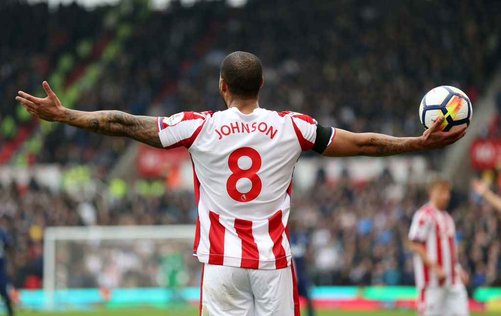 Glen Johnson wearing the number eight at Stoke