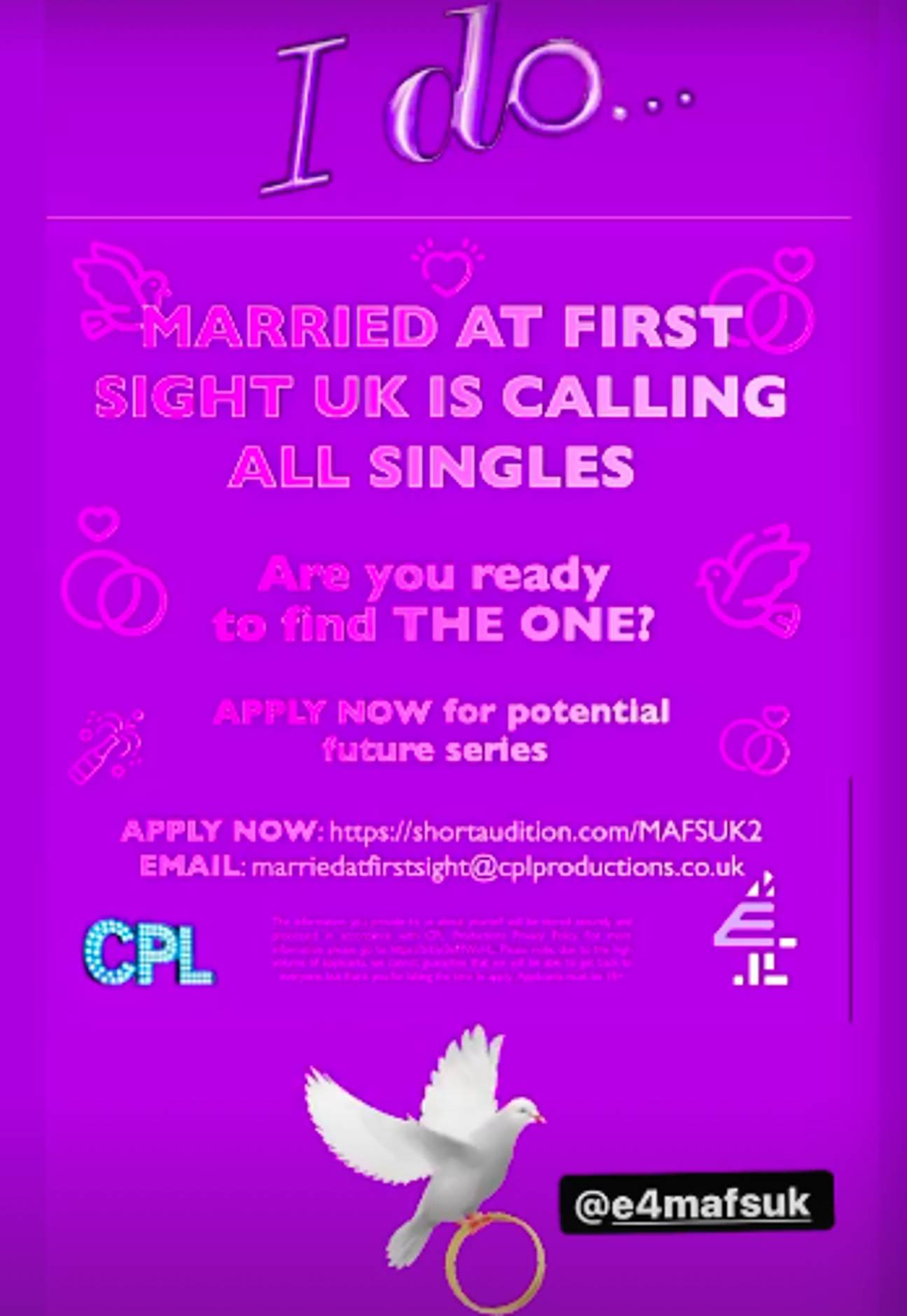 Married at First Sight looking for new contestants