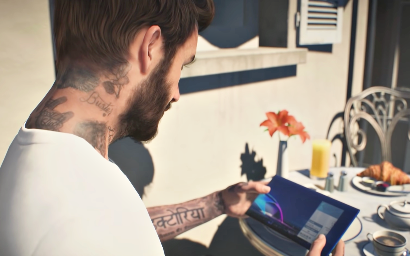 Beckham in FIFA 22's opening cinematic